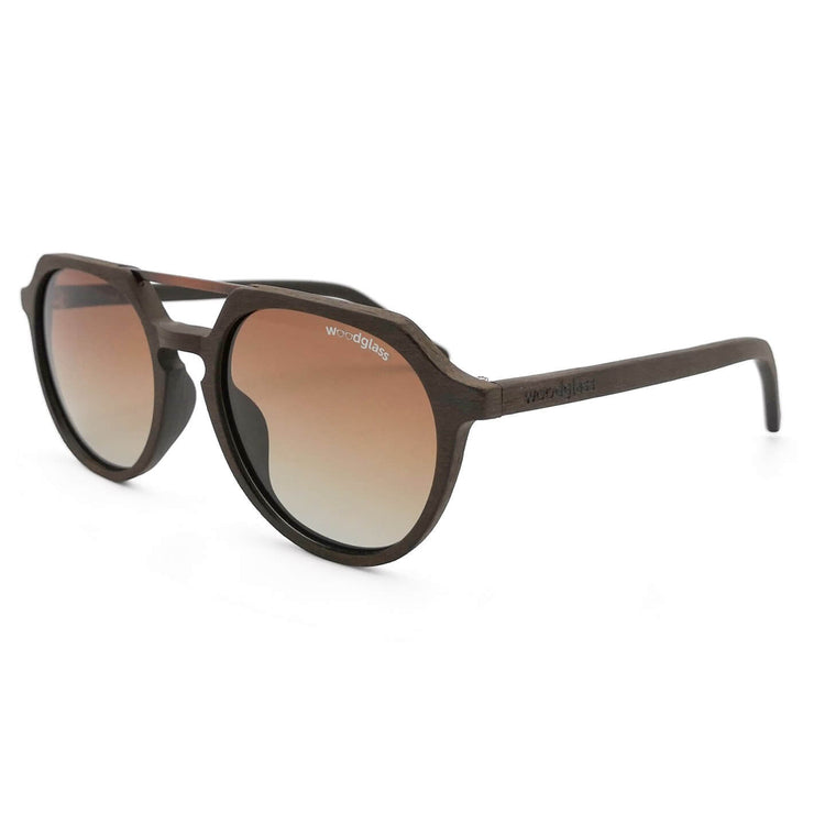Torres wood imitation sunglasses from Woodglass, dark oak frame with copper metal and brown gradient lens that is polarized & UV400 CE3 protected