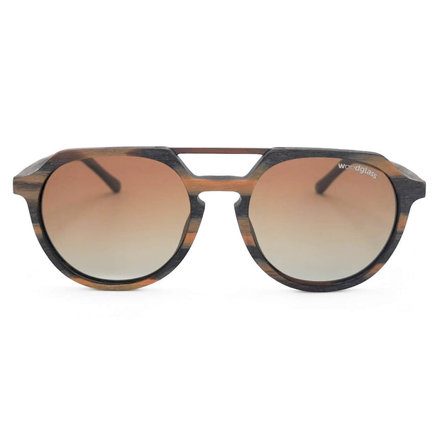 Torres wood imitation sunglasses from Woodglass, timber frame with copper metal and brown gradient lens that is polarized & UV400 CE3 protected