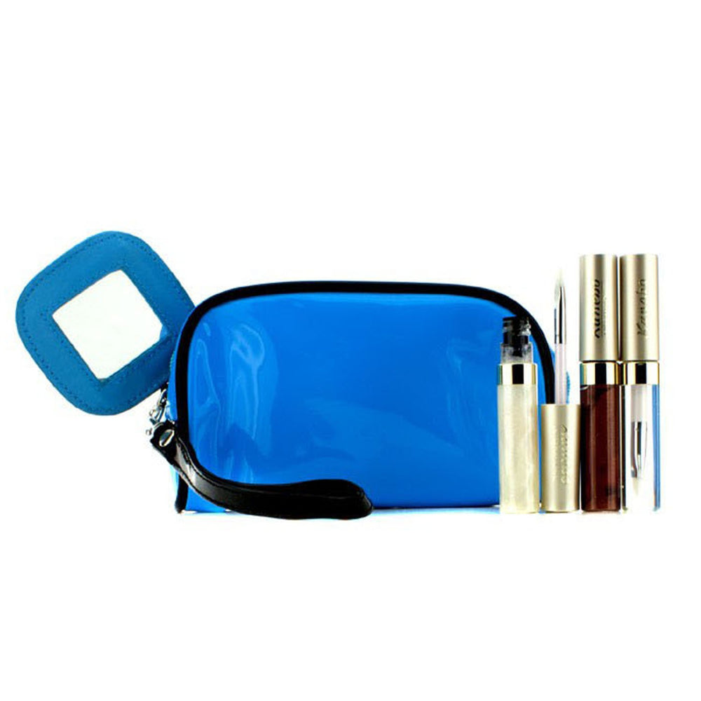 Lip Gloss Set With Blue Cosmetic Bag (3x Mode Gloss, 1x Cosmetic Bag)