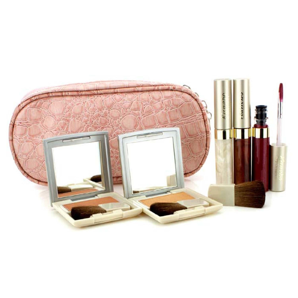 Cheek & Lip Makeup Set With Pink Cosmetic Bag (2x Cheek Color, 3x Mode Gloss, 1x Brush, 1x Cosmetic Bag)