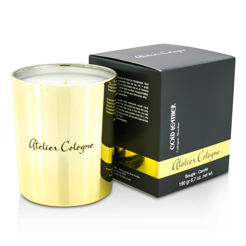 Bougie Candle   Gold Leather