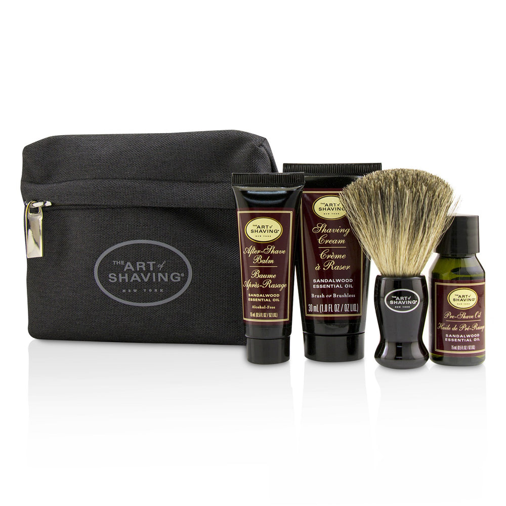 Starter Kit Sandalwood: Pre Shave Oil + Shaving Cream + After Shave Balm + Brush + Bag 220176