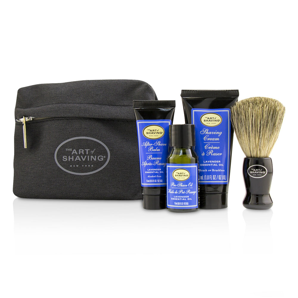 Starter Kit Lavender: Pre Shave Oil + Shaving Cream + After Shave Balm + Brush + Bag 220177