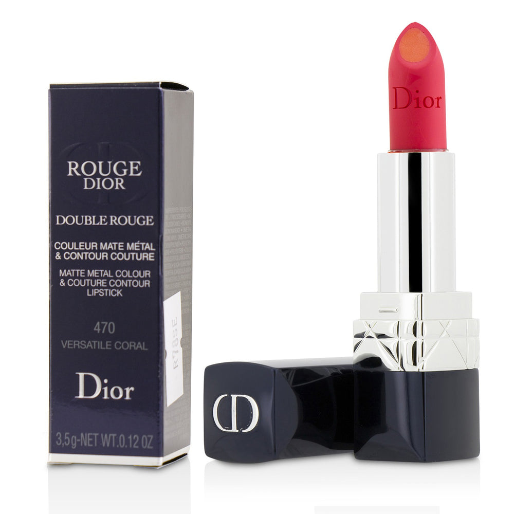 Load image into Gallery viewer, Rouge Dior Double Rouge Matte Metal Colour & Couture Contour Lipstick # 470 Versatile Coral 220264