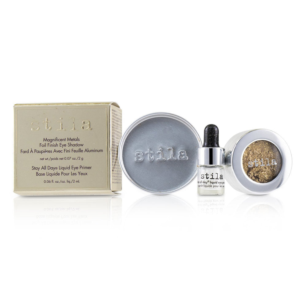 Magnificent Metals Foil Finish Eye Shadow With Mini Stay All Day Liquid Eye Primer   Gilded Gold