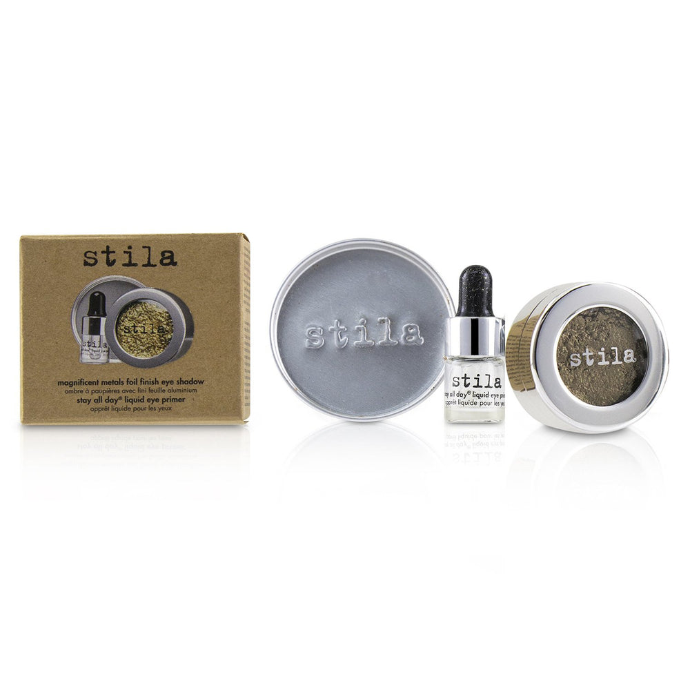 Magnificent Metals Foil Finish Eye Shadow With Mini Stay All Day Liquid Eye Primer   Vintage Black Gold