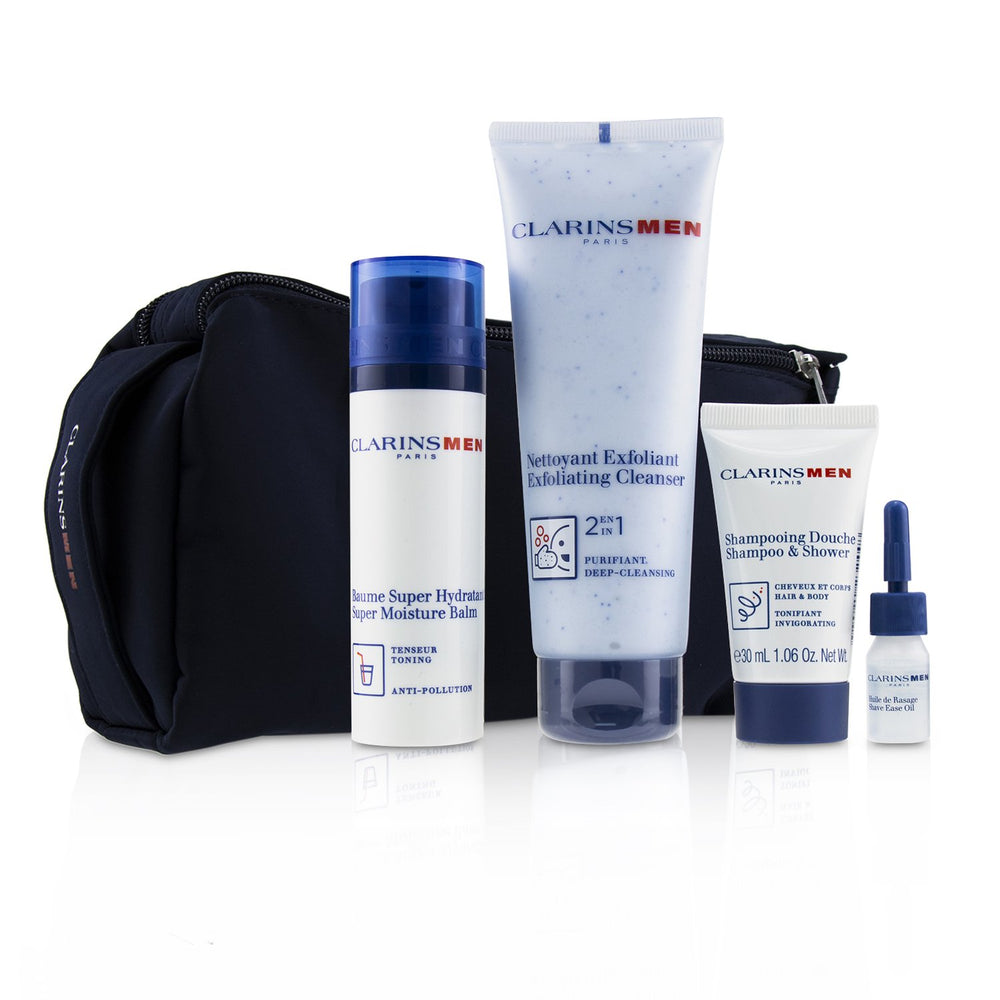 Men Everyday Heroes Set: 1x Exfoliating Cleanser 125ml + 1x Super Moisture Balm 50ml + Shampoo & Shower 30ml + Shave Ease 3ml 240045