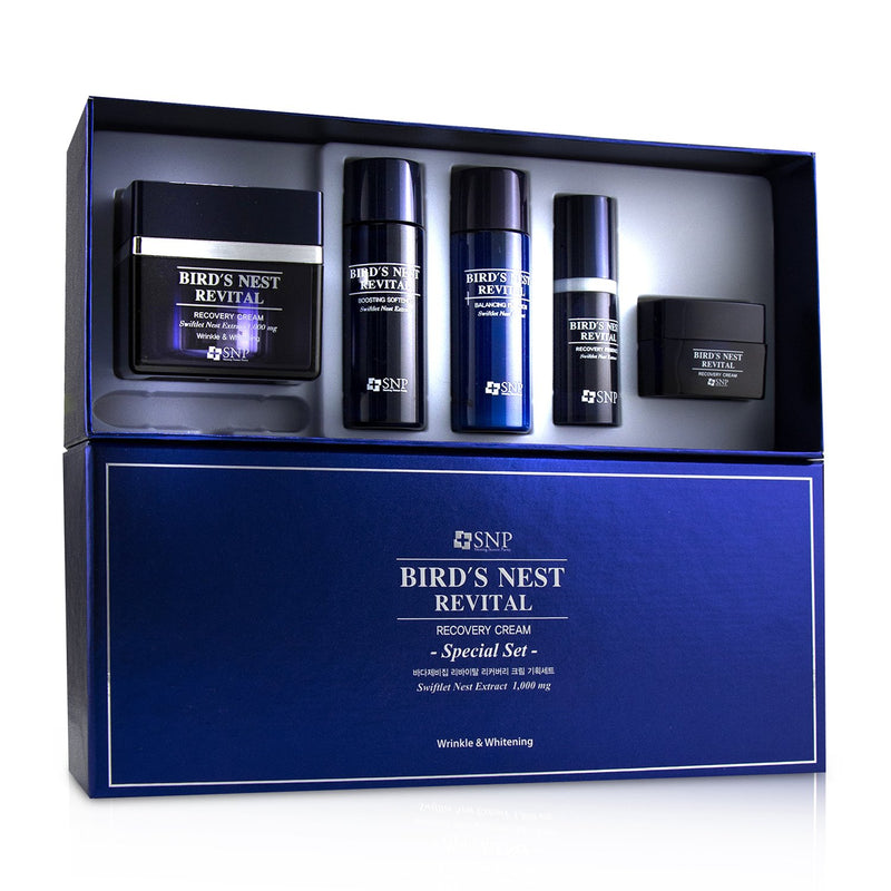 Bird's Nest Revital Recovery Cream Wrinkle & Whitening Set: Cream 50g, Softener 31ml, Emulsion 31ml, Essence 10ml, Cream 10g 242194