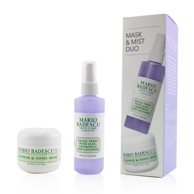 Lavender Mask & Mist Duo Set: Flower & Tonic Mask 2 Oz + Facial Spray With Aloe, Chamomile And Lavender 4oz 245052