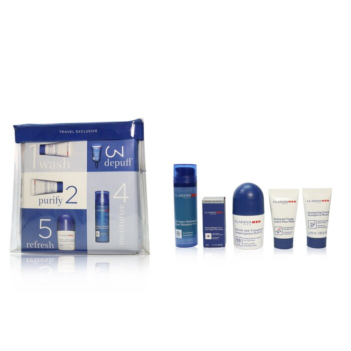 Load image into Gallery viewer, Men Grooming Essentials For Men Travel Exclusive Kit: Moisture Gel 50ml + Face Wash 30ml + Eye Serum 3ml + Antiperspirant Roll On 50ml + Shampoo & Shower 30ml