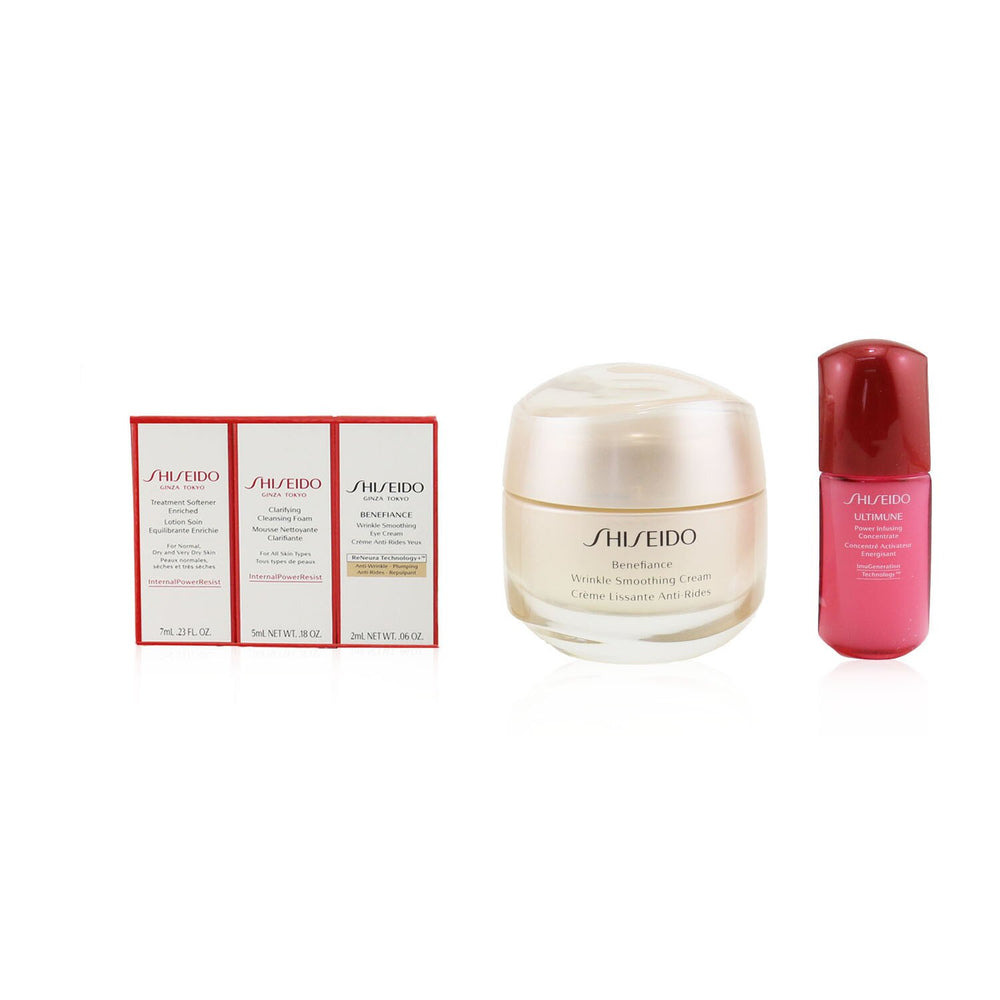 Anti Wrinkle Ritual Benefiance Wrinkle Smoothing Cream Set (For All Skin Types): Wrinkle Smoothing Cream 50ml + Cleansing Foam 5ml + Softener Enriched 7ml + Ultimune Concentrate 10ml + Wrinkle Smoothing Eye Cream 2ml 249182