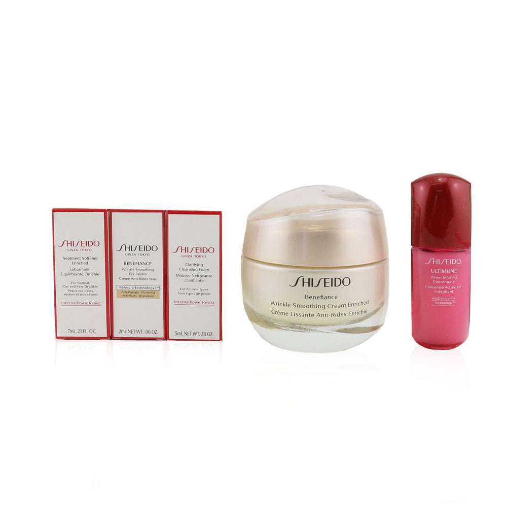 Anti Wrinkle Ritual Benefiance Wrinkle Smoothing Cream Enriched Set (For Dry Skin): Wrinkle Smoothing Cream Enriched 50ml + Cleansing Foam 5ml + Softener Enriched 7ml + Ultimune Concentrate 10ml + Wrinkle Smoothing Eye Cream 2ml 249187