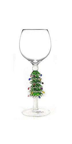 Green Christmas Tree Wine Glass By Yurana Designs - Hand Blown W221