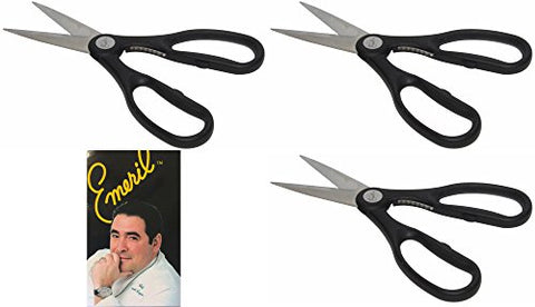 Emeril Stainless Steel Kitchen Shears, Black Heavy Duty Scissors With Built-In Nutcracker