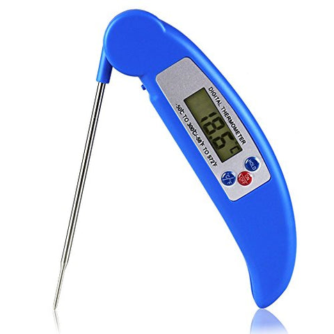 Instant Read Food Thermometer Fineed Bbq Meat Thermometer Super Fast Digital Thermometer With Collapsible Internal Probe Blue
