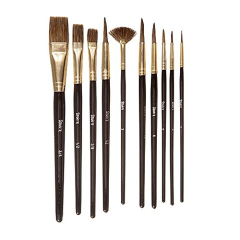 Darice 30052076 Studio 71 Natural Bristle Paint Brushes: 10 Pieces, Brown/Gold