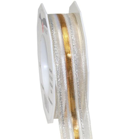 Morex Ribbon Madagascar Metallic Sheer Wired Ribbon, 1 By 22-Inch Yard Spool, Gold