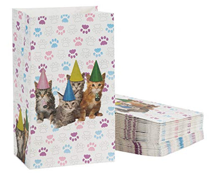 Cat Party Favor Bags - Cat Birthday Pet Party Supplies, Small Paper Gift Bags For Goodies, Cats And Paws Design, 5.1 X 8.7 X 3.2 Inches