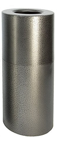 Witt Industries Al18-Svn Aluminum 24-Gallon Decorative Trash Can With Rigid Plastic Liner, Round, 15  Diameter X 30-1/2  Height, Silver