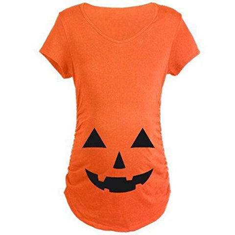 Iumer Halloween Tops Easy Halloween Costume Fun Tee Pregnant Pumpkin Carved Face Printed Maternity Clothes T-Shirt Pregnancy Pumpkin Color