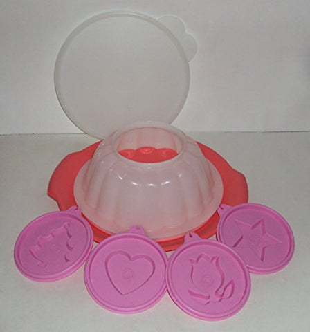Tupperware Jel-Ring Jello Mold With Holiday Shape Seals And Serving Plate