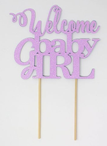 All About Details Welcome Baby Girl Cake Topper (Glitter Pastel Purple)