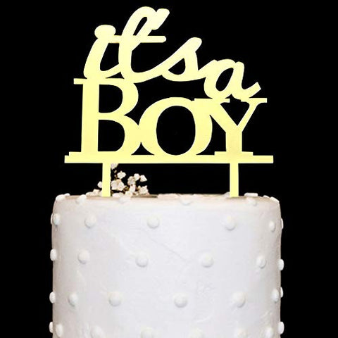 It'S A Boy Cake Topper Acrylic Gold Mirror For Boy Baby Shower, Gender Reveal Party Decorations