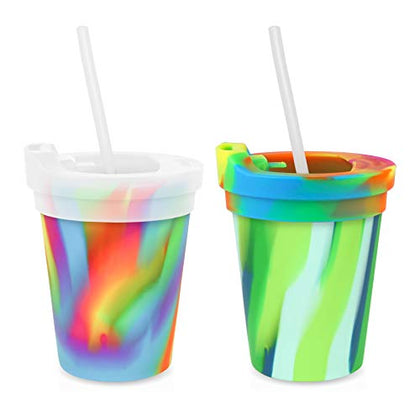 Silipint Safe Silicone Kids 8Oz Cups Sea Swirl &Amp; Hippie Hop, U.S. Patented, Bpa-Free, Unbreakable, Sealable Lid, Silistraws Included - Safer Car Rides, Camping, Sports, Life! (2 Cups/Lids And Straws)