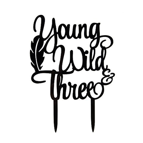 Young Wild Three Cake Topper - 3Rd Birthday Cake Toppers - Baby Birthday Party Decorations Black