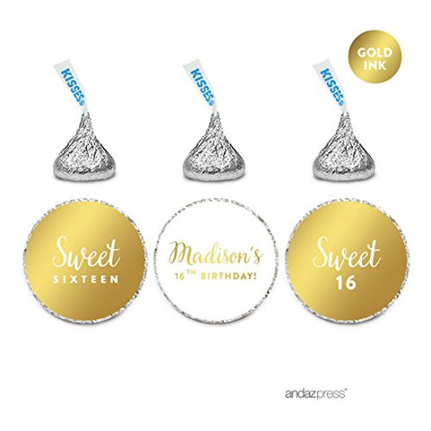Andaz Press Personalized Chocolate Drop Labels Trio, Metallic Gold Ink, Sweet 16 Birthday, 216-Pack, Fits Hershey'S Kisses, Custom Made Any Name