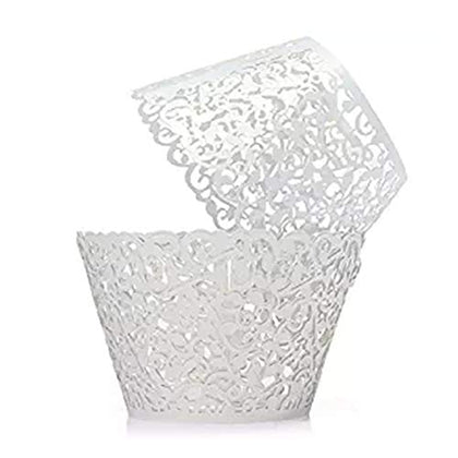 Mengar 100Pcs Cupcake Wrappers Lace Cupcake Liners Lace Cupcake Papers Cupcake Cups For Wedding Birthday Party Decoration