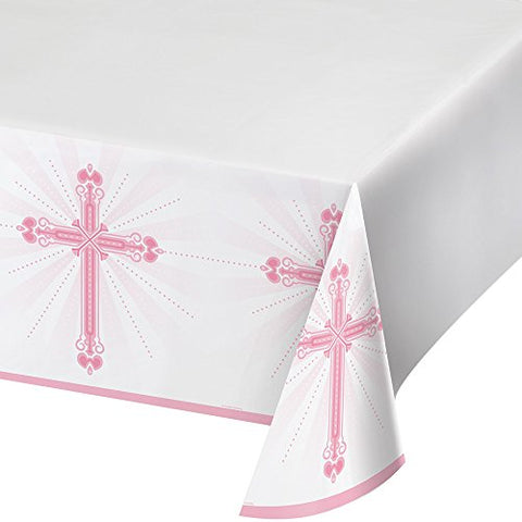 Creative Converting 722218 Border Print Plastic Tablecover, 54 X 102, Blessings Pink