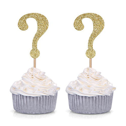 24 Pcs Gold Glitter Question Mark Cupcake Toppers Gender Reveal Party Decors