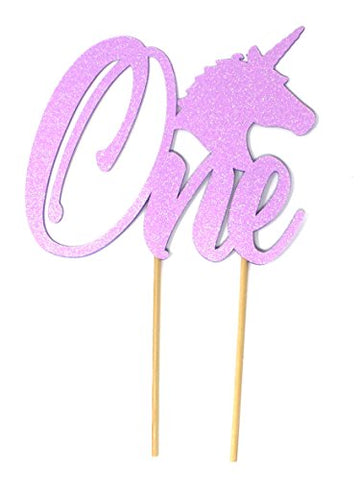 All About Details Unicorn Theme One Cake Topper, 1Pc, 1St Birthday Cake Topper, 1St Birthday Party Decoration (Glitter Pastel Purple)