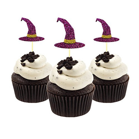 Witch Hat Halloween Cupcake Topper 12 Pieces Per Pack Decoration Cake Glitter Foamy