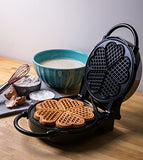 Heart Waffle Maker- Non-Stick 5-Heart Waffler Iron Griddle With Adjustable Browning Control