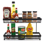 2 Tier Wire Frame Wall Mountable Metal Kitchen Spice Rack, Countertop Storage Shelves, Black