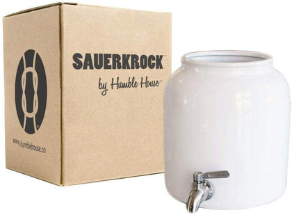 Humble House Sauerkrock Tap Kombucha Crock With Stainless Steel Spigot - 10 Liter (2.6 Gallon) Ceramic Jar In Natural White For Continuous Brewing