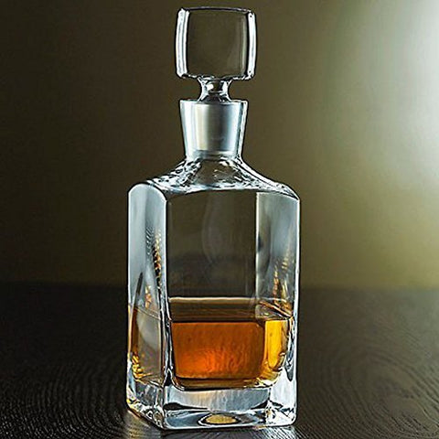 Enzo Lead-Free Crystal Whiskey Bottle Decanter, Handmade Old-Fashioned 35 Oz. Square Carafe For Scotch Or Bourbon