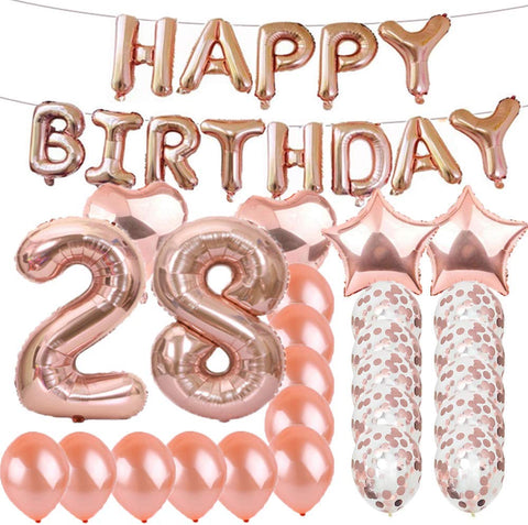 Sweet 28Th Birthday Decorations Party Supplies,Rose Gold Number 28 Balloons,28Th Foil Mylar Balloons Latex Balloon Decoration,Great 28Th Birthday Gifts For Girls,Women,Men,Photo Props