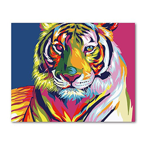 Rihe Paint Numbers Kit Diy Oil Painting Adults Beginner- Colorful Tiger 16X20Inch (Frameless)