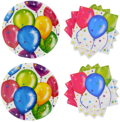 Set Of 36 Party Paper Plates And 40 Napkins Colorful Balloon Theme For Birthdays
