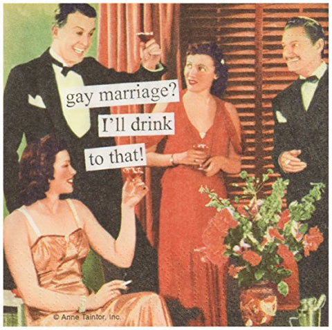 Paperproducts Design 7836 Anne Taintor Beverage/Cocktail Napkin, Gay Marriage
