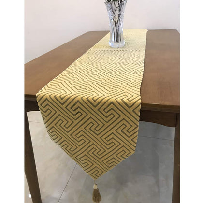 Zupro Multi-Size Elegant Tassels Labyrinth Pattern Classic Table Runners,For Dining Table,Tea Coffee Table Dresser Shoe Box 13X87 Inches(32 X220Cm),Labyrinth - Yellow