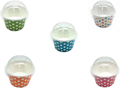 Pepperlonely Paper Ice Cream Cups With Dome Lids, Polka Dot Cup Mix 6 Ounce 30 Set