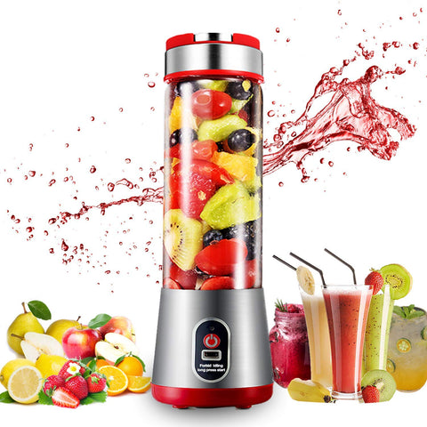 Portable Blender,Mini Travel Personal Glass Blender Juicer For Shake And Smoothie With 16Oz Usb Rechargeable 6 Blades 7.4V For Fresh Fruit Juice,Daiquiri And Margaritas