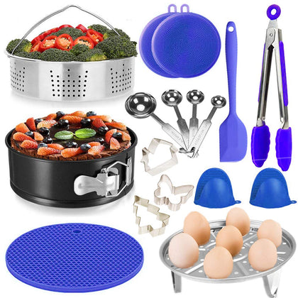 16 Pcs Pressure Cooker Accessories Set For 5,6,8 Qt Pot, Steamer Basket, Springform Pan, Egg Steamer Rack, 3 Cookie Cutters, Tongs, Mitts, Trivet Mat,2 Silicone Cleaner, 4 Measuring Spoon,Cake Scraper