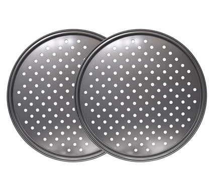 Richohome 12 Inch Nonstick Carbon Steel Pizza Tray Pizza Pan With Holes