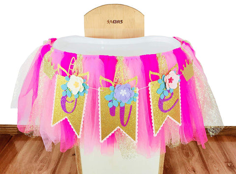 E&L Unicorn & Flower Themed High Chair Decorations For 1St Birthday Baby Girl Or Baby Boy, One Unicorn Themed Party Decorations Kit, Birthday Party Supplies, High Chair Banner