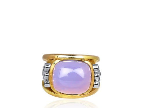 Cabochon Chalcedony and Diamond Ring